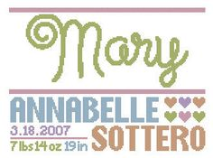 customizable cross stitch birth announcement