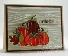 Stampin' Up! ... handmade card: Happy Fall for The Paper Players ... country look ... luv the inked embossing folder look in wood grain ... grouping of pumpkins with twine bows ... luv it!