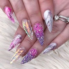 🔥Pixies Crystals AB 1440 pcs For Micro Dust Nail Art Caviar Manicure Swarovs Unicorn Nails Designs, Unicorn Nail Art, Fancy Nails, Bling Nails, Gorgeous Nails, Pretty Nails, Crome Nails, Manicure E Pedicure, Caviar Manicure