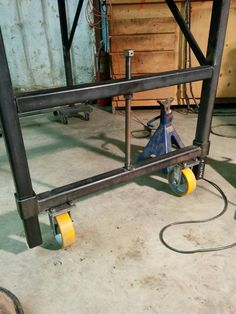 Added lifting wheels for my welding table Post with 0 votes and 8326 views. Added lifting wheels for my welding table Welding Bench, Welding Table Diy, Welding Cart, Welding Shop, Welding Tools, Metal Welding, Welding Ideas, Cool Welding Projects, Welding Workshop