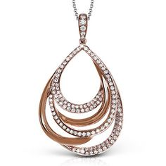 "Simon G. 18K Rose Gold ""Passion Pave"" Diamond Pendant Featuring 0.84 Carats White Diamonds. Style MP2022"