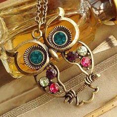 Stylish Owl W/ Playful Charms Necklace!