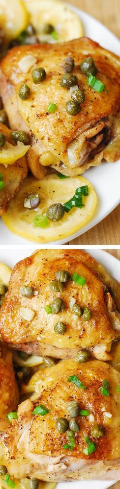 Oven Baked Chicken Thighs with capers, lemon, and garlic - fast, super easy, flavorful weeknight dinner.