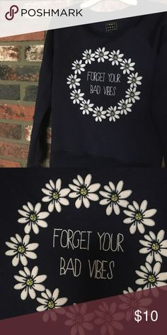 pacsun Forget Your Bad Vibes crewneck navy blue Sweaters Crew & Scoop Necks