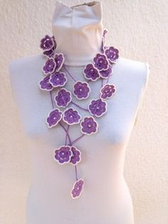 Crochet lariat scarf with Flower in Lilac with bead, Necklace, Crochet