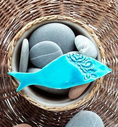 Ceramic Art Handmade Mediterranean Fish Ornament Turquoise  Rustic Decorative Collectible Summer Decoration Home Decor Wall Hanging by JIJIMA on Etsy