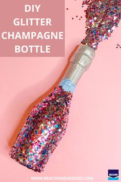 Add glitz and glamour to your champagne bottle with this super chic DIY! Using Beacon's Felt Glue, you can add glitter to your champagne bottle... this will certainly be fun to pop on NYE! #MadeWithBeacon Glitter Champagne Bottles, Felt Glue, Nye, Glamour, Chic, Projects, Shabby Chic, Log Projects, Blue Prints