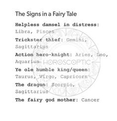 The signs in a fairy tale #astrology