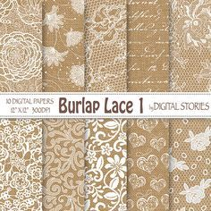 Burlap Lace Wedding Digital Paper BURLAP LACE 1 White Vintage Textured For Scrapbooking Invites