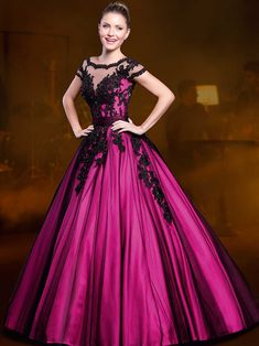 2015 Ball Gown Sheer Neck Fuchsia and Black Lace Crystals Quinceanera Dresses Two Pieces Low back 15 years Removable Skirt Ball Dresses, Ball Gowns, Evening Dresses, Prom Dresses, Formal Dresses, Wedding Dresses, Dresses 2016, Dress Vestidos, Floor Length Dresses