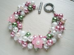 Spring Wedding Bridesmaid Jewelry Pearl Cluster Bracelet - Spring Flowers. $22.00, via Etsy.