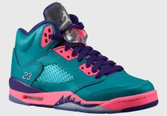 Air Jordan  5 Teal Pink Purple