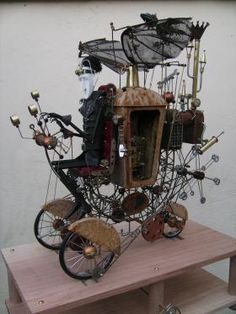 keith newstead awesome gothic automata mechanical art car that wouldn't look out of place in the wacky races Dracula pimped his ride Chat Steampunk, Style Steampunk, Steampunk Lamp, Wind Sculptures, Sculpture Art, Abstract Sculpture, Bronze Sculpture, Kinetic Toys, Kinetic Art