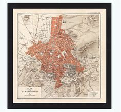Old Map of Athens Greece 1880 This is a reproduction of an highly detailed map. The Map is approximately x inches It has an extra Greece Map, Athens Greece, All Poster, Poster Wall, Vintage Maps, Vintage Posters, Athens Map, Old Maps, City Maps