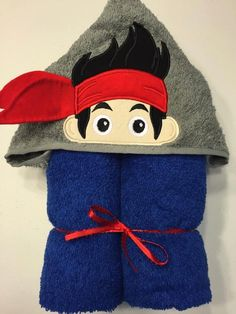 "Pirate Boy Applique Hooded Bath Towel, Beach Towel 30"" x 54"" by MommysCraftCreations on Etsy"