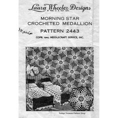 Morning Star Crocheted Bedspread Medallion Pattern Design 2443  -  A Mail Order Design from Laura Wheeler