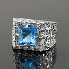 Seljuk Empire Style Unique Handmade Genuine Blue Topaz 925 Solid Silver Men Ring #Handmade #SeljukEmpire