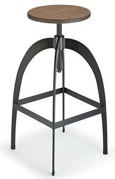 Falop Retro Industrial Style Swivel and Height Adjustable Kitchen Breakfast Bar Stool Walnut Seat