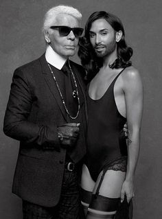Conchita Wurst Gets the Karl Lagerfeld Treatment. Conchita's photoshooting of Karl Lagerfeld for CR Fashion Book. Karl Lagerfeld, Swag Style, Cannes Film Festival, Yoga Mode, Klum, Carine Roitfeld, Beauty And Fashion, Actrices Hollywood, Androgynous Fashion