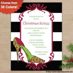 Fashionista Christmas Invitation. Matching thank you card, correspondence card, address label, envelope address wrap, gift sticker, and enclosure card are also available.