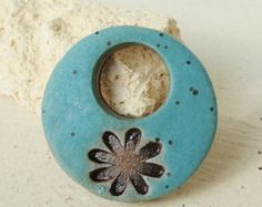 Ceramic Pendant, Turquoise Green with brown daisy, ceramic jewelry, necklace, pretty, feminine. handmade from stoneware clay