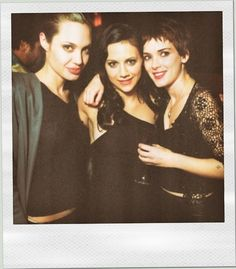 This looks like the Polaroid of me, Katie, and Paton...LOL  Angelina, Britney, and Winona. So much 90s love <3