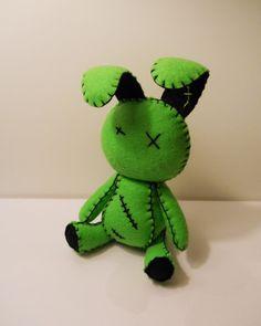 Sentía poco goth zombie verde conejo conejo peluche juguetes de peluche