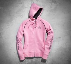Wear your support for a cure with the Pink Label hoodie. A portion of every sale is donated to organizations that support breast cancer patients and their families.   Harley-Davidson Women's Pink Label Activewear Hoodie