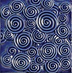 Bristol Studios - Nouveau - G2350 Chinon Blue Relief Deco - 6X6 Hand Crafted Decorative Tile