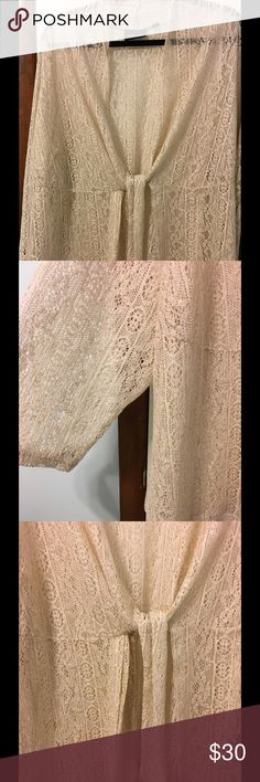 🌷🌹AVENUE 🌹🌷 Lace Jacket with tie. Worn once to a wedding. Great cream color with gold thru the whole thing. Beautiful over tank dress. Wear closed or open. Dress it up or down. Endless options. Avenue Jackets & Coats