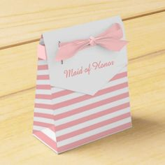 Pink and White Stripes Personalized Wedding Favor Favor Box