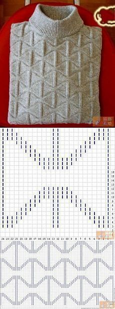 KNIT | GEOMETRIC DIAMOND STITCH | DIAGRAM & Photo ONLY | Pattern Repeat: 24 sts x 26 rows | #KP Only | LEVEL(1-10/Beginner - Expert): 1-Beginner/Easy | KP = Knits + Purls Only | Found on Pinterest but Web link unusable so turned into a Photo Only Post | ~~ http://www.Pinterest.com/bonnielbuchanan ~~ | #knit #knitting #stitch #geometric #diamonds #mens #KP #diagrams