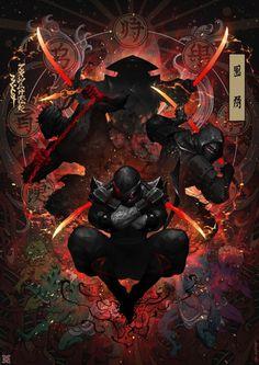 Ink Ninja – fantasy concept by mist XG Ninja Kunst, Arte Ninja, Ninja Art, Character Concept, Character Art, Concept Art, Fantasy Warrior, Fantasy Art, Ronin Samurai