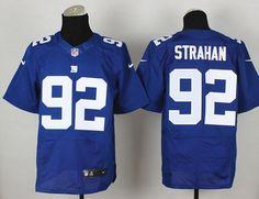 New York Giants 92 Strahan Blue Elite Jerseys