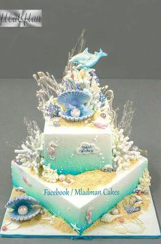 donut mug cake Gorgeous Cakes, Pretty Cakes, Cute Cakes, Amazing Cakes, Beach Themed Cakes, Beach Cakes, Mermaid Birthday Cakes, Mermaid Cakes, Sirenita Cake