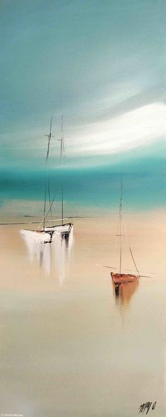 Sérénité III - Painting  40x2x100 cm 2015 by Olivier Messas -                                                                        Contemporary painting Canvas Boat Sailboat segler sail sailing mer sea voile voilier #OilPaintingBoat