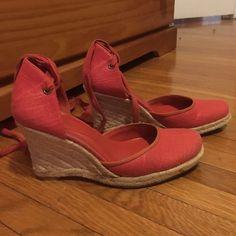 Nine West wedge espadrilles Bright orange fabric like new worn a few times Nine West Shoes Wedges