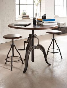 With a stylish retro and industrial look, this adjustable gathering height table and bar stool set will look great in any room, you just have to decide which one!