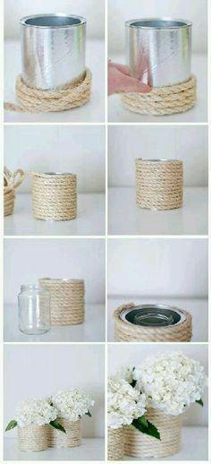 #Reciclar #latas de conserva como #floreros.