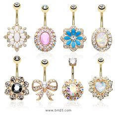 Golden Non Dangle Exquisite Belly Ring Collection at BM25.com