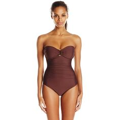 Helen Jon Women's Gold Coast Allegra Chocolate One Piece Swimsuit ($14) ❤ liked on Polyvore featuring swimwear, one-piece swimsuits, gold swimwear, one piece swimsuit, one piece bathing suits, 1 piece bathing suits and gold bathing suit