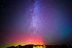 Photo of the Milky Way and the Northern Lights over Whitefish, Montana by sarahmariegerrity on Etsy https://www.etsy.com/listing/205265076/photo-of-the-milky-way-and-the-northern