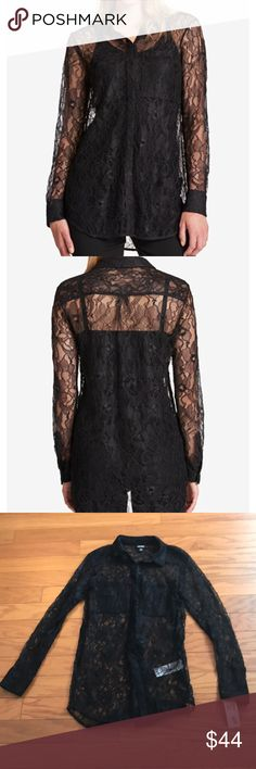 DKNY Black Lace Blouse DKNY Black Lace Blouse. Size P. Equivalent to size 2. Point collar. Front closure. Semi sheer. Does not include cami underneath as shown in stock pic. Long sleeve. Hits at hip. 18 inches pit to pit. Approx. 30 inches from top of shoulder to bottom front. Dkny Tops Blouses