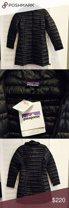 NWT Patagonia Fiona Down Parks in black sz M The Patagonia Women's Fiona Down Parka flawlessly accentuates your curves while protecting you with its down insulation against the cold. With a slim fit, this jacket looks fabulous while you brave the snow, even if it's only to check the mail. It's windproof, water-repellent, and made from recycled polyester with a DWR finish and 600-fill traceable duck down insulation and hand zip pockets. The feathers are ethically sourced. No trades no PayPal…