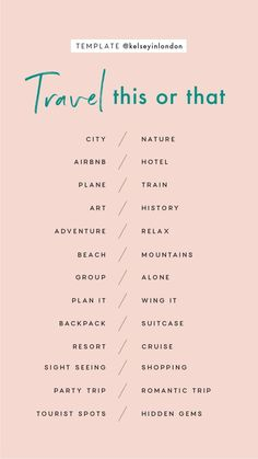 Travel – Instagram Story Templates - Kelsey in London Instagram Story Questions, Instagram Story Ideas, Instagram Games, Get To Know Me, Getting To Know You, The Plan, How To Plan, Things To Do At A Sleepover, Fun Questions To Ask