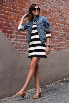 navy and white striped dress - denim jacket - statement necklace - nude wedges - striped dress summer outfits summer dress outfit blue summer dress outfit blue summer dress outfit outfits baby blue dress - blue dress outfit - Summer Blue Dresses 2019 Mode Style, Style Me, Neutral Wedges, Nude Wedges, Brown Wedges, Brown Heels, Black White Striped Dress, White Denim, Striped Tee
