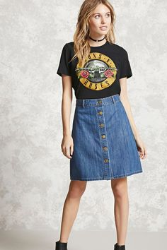 Forever 21 Contemporary - An A-line denim skirt featuring a buttoned placket, high-waist fit, and seam-stitched panels.