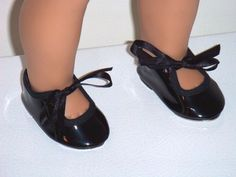 """Black Patent Tap Dance Shoes Metal Bottoms Fits 18"""" American Girl Doll Clothes  #Unbranded"""