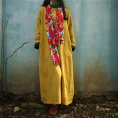 women cotton linen loose fitting long sleeve autumn and spring maxi dress customized dress plus size clothing buykud - 1