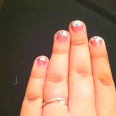my pink with silver glitter tip nails :)